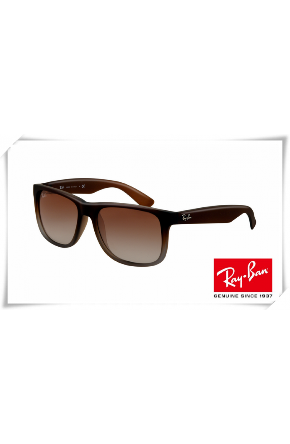 795fea7e5 Cheap Replica Ray Ban RB4165 Justin Sunglasses Rubber Brown Frame ...